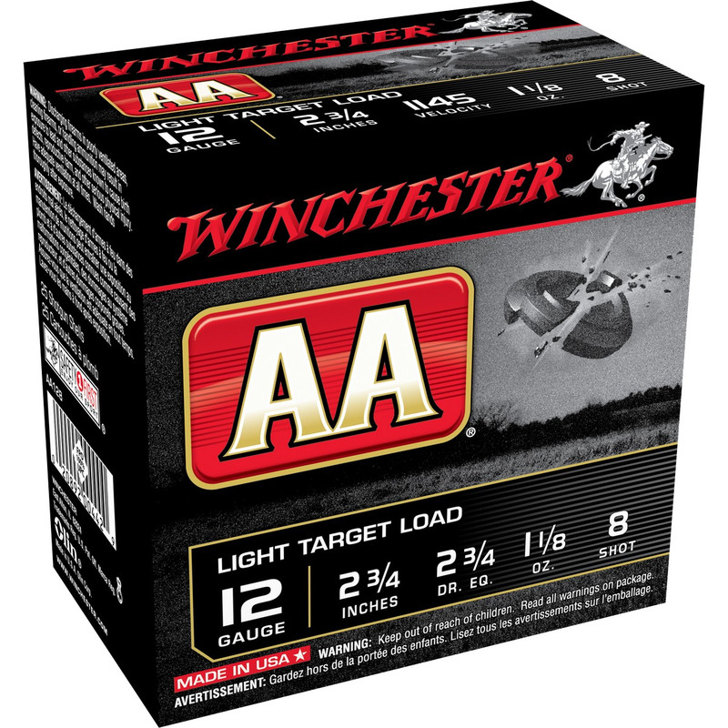 "Winchester AA Light 12 Ga 2 3/4"" 1-1/8 Oz - Case in Shot Size 8 Ammo Size"