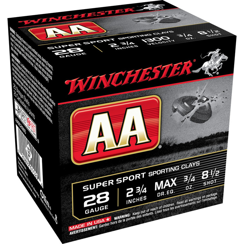 "Winchester AA Super Sport 28 Gauge 2.75"" 3/4 Oz - Case in Shot Size 8.5 Ammo Size"
