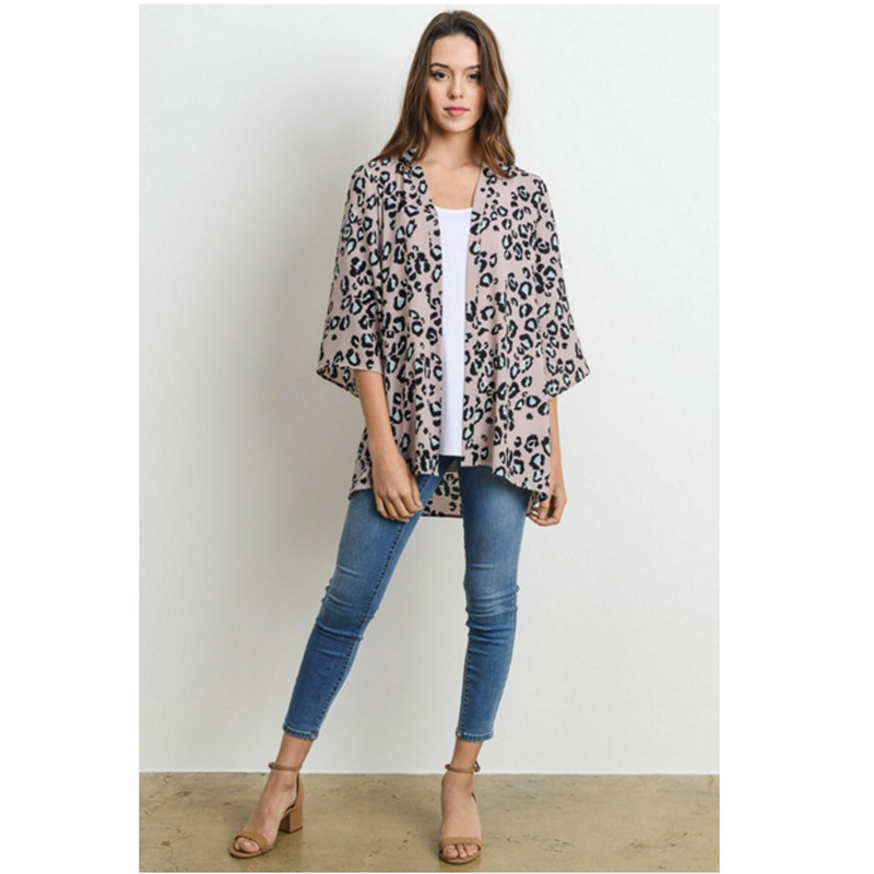 Adrienne Kimono Cardigan in Taupe Black Ivory Color
