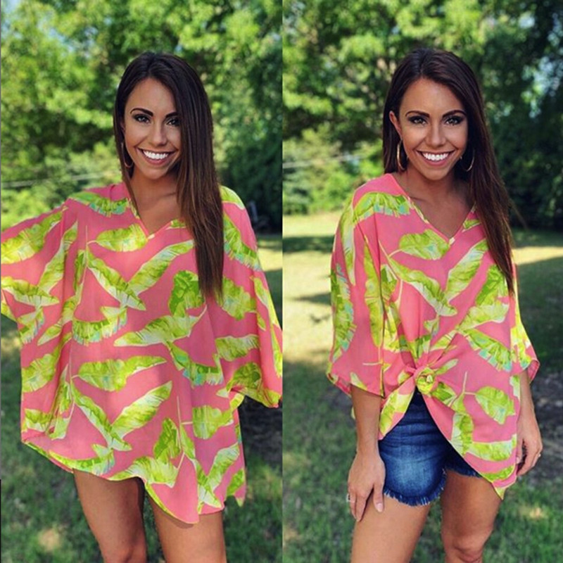 Adrienne Tropical Print Oversized Blouse in Bright Coral Green Color