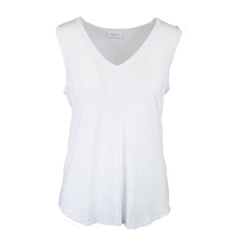 Adrienne Rayon Modal Wide V-Neck Tank in White Color