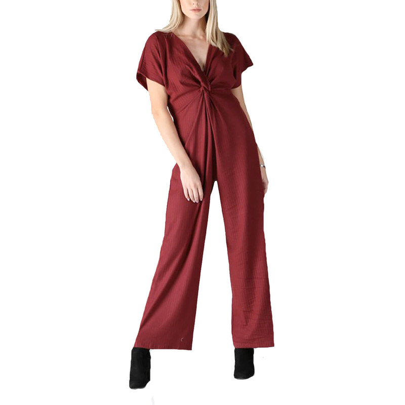 Angie Twist Front Jumpsuit in Wine Color