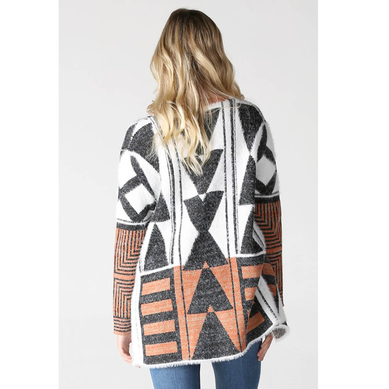 Angie Geometric Print Cardigan in White Black Color