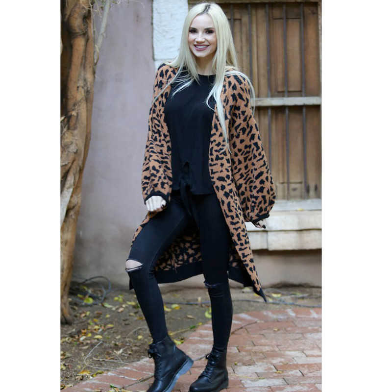 Angie Leopard Print Balloon Sleeve Cardigan in Brown Color