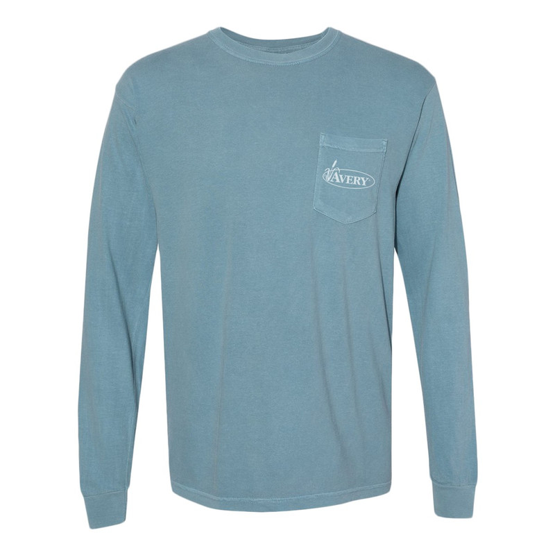Avery Long Sleeve Painted Lab Tee in Ice Blue Color