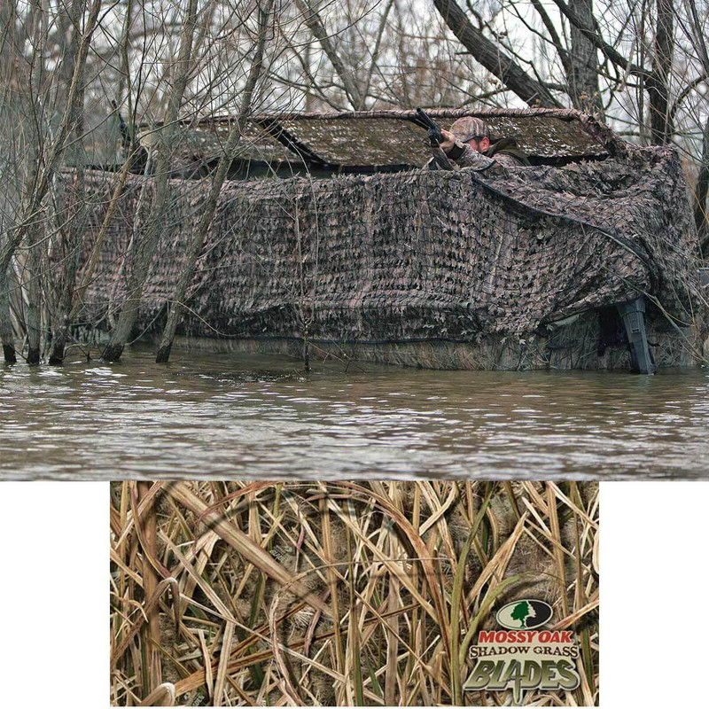 Avery Outdoors Quick-Set Duck Boat Blind Set - 14-16 Foot in Mossy Oak Shadow Grass Blades Color