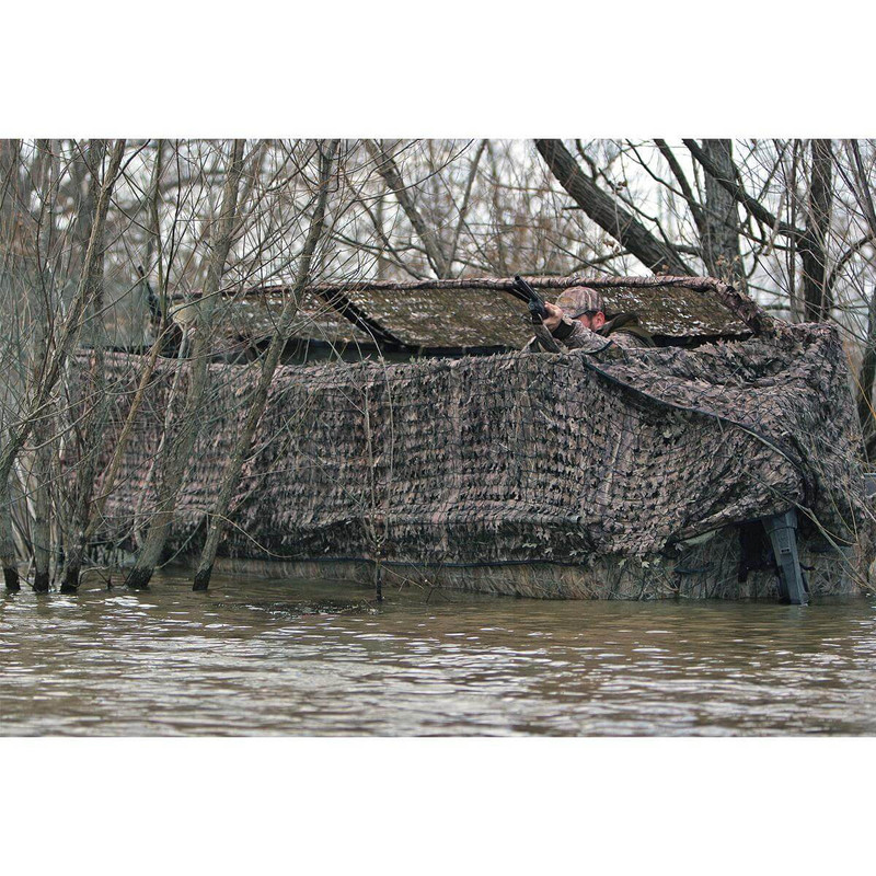 Avery Outdoors Quick-Set Duck Boat Blind Set - 17-19 Foot in Mossy Oak Bottomland Color