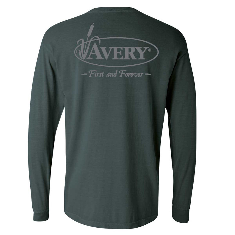Avery Signature Long Sleeve T-Shirt in Blue Spruce Color