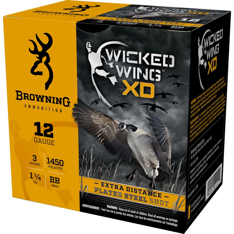 "Browning BXD Waterfowl 12Ga 3"" 1-1/4 Oz - Case in Shot Size BB Ammo Size"