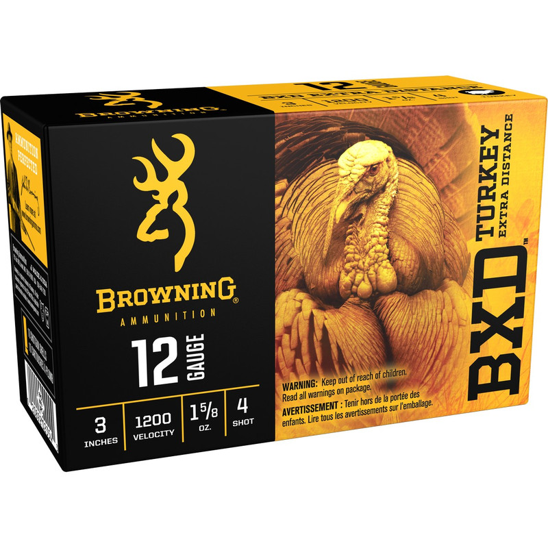 "Browning B19391123 BXD Turkey 12 Ga 3"" 1-5/8 Oz - Box in Shot Size 4 Ammo Size"