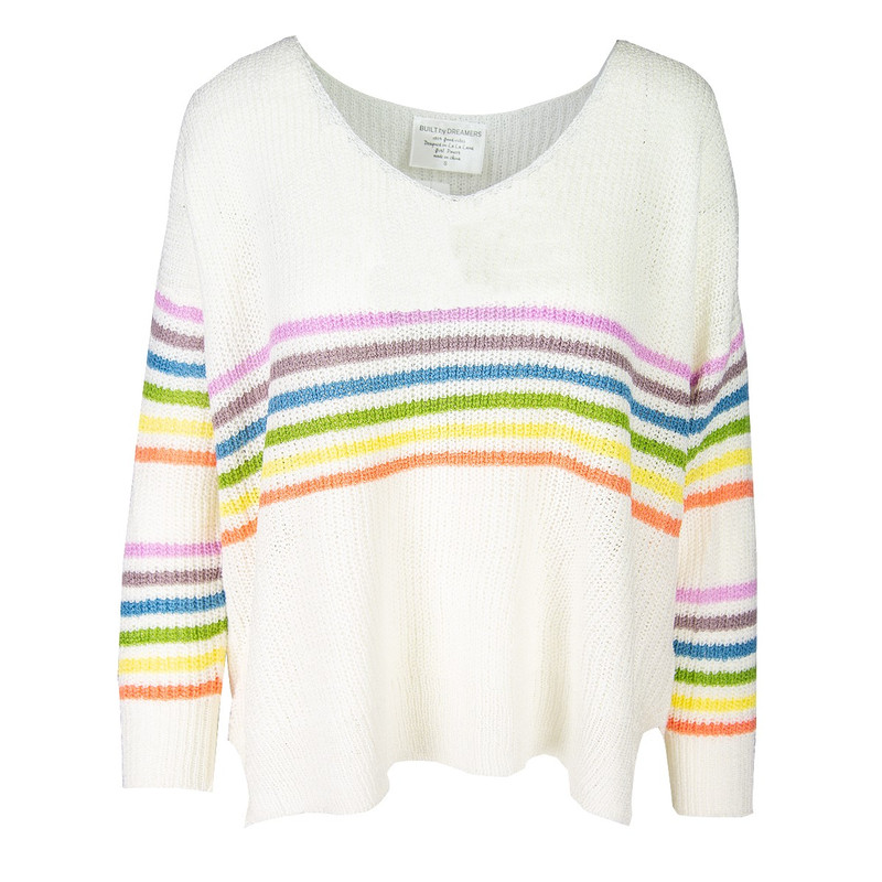 Built By Dreamers Many Colors Rainbow Sweater in Ivory Color