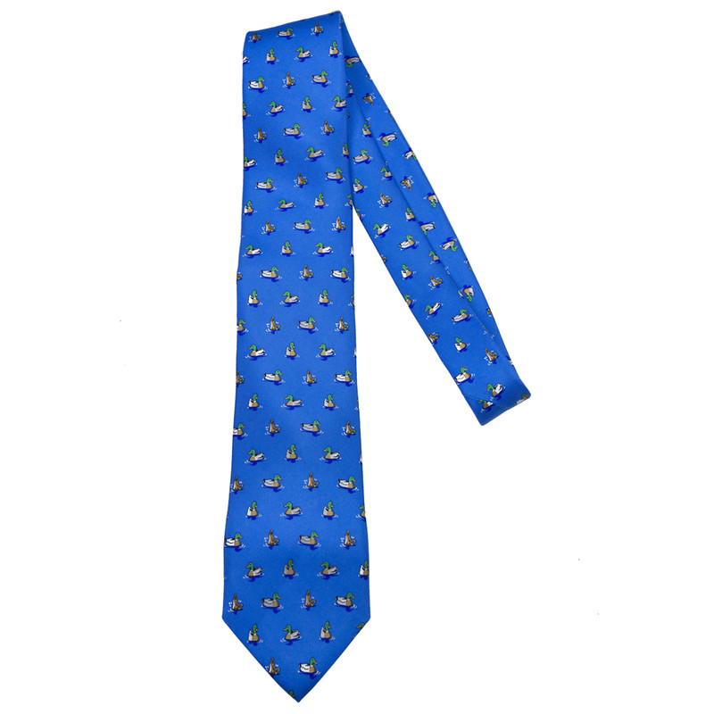 Bird Dog Bay Downward Duck Necktie in Mid Blue Color
