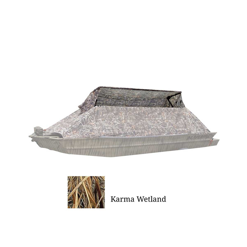 Beavertail Flip-Top Boat Blind in KARMA WETLAND Color