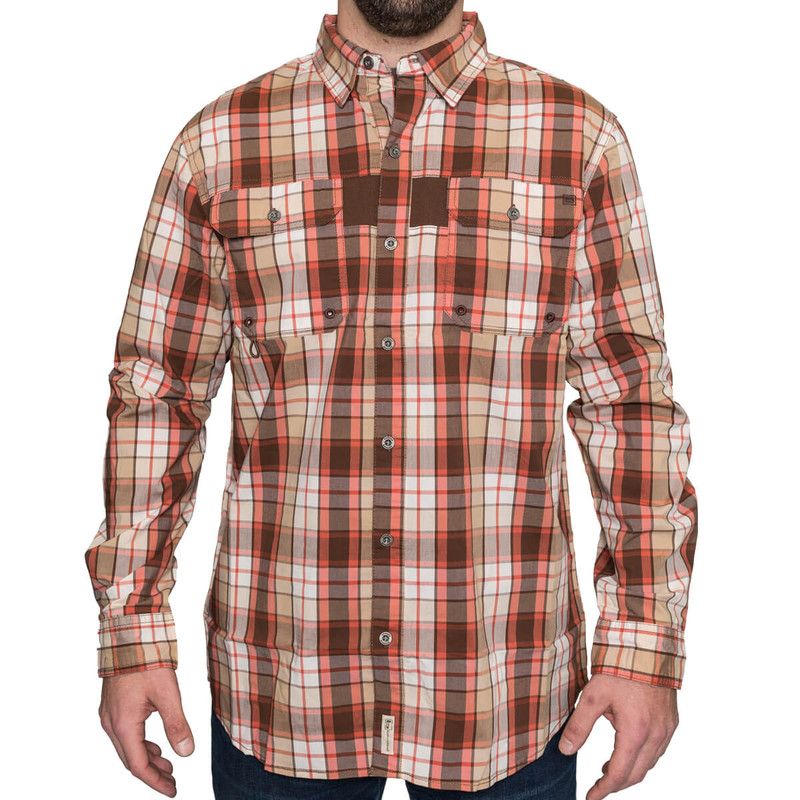 Banded Adventure Long Sleeve Shirt in Brown Plaid Color