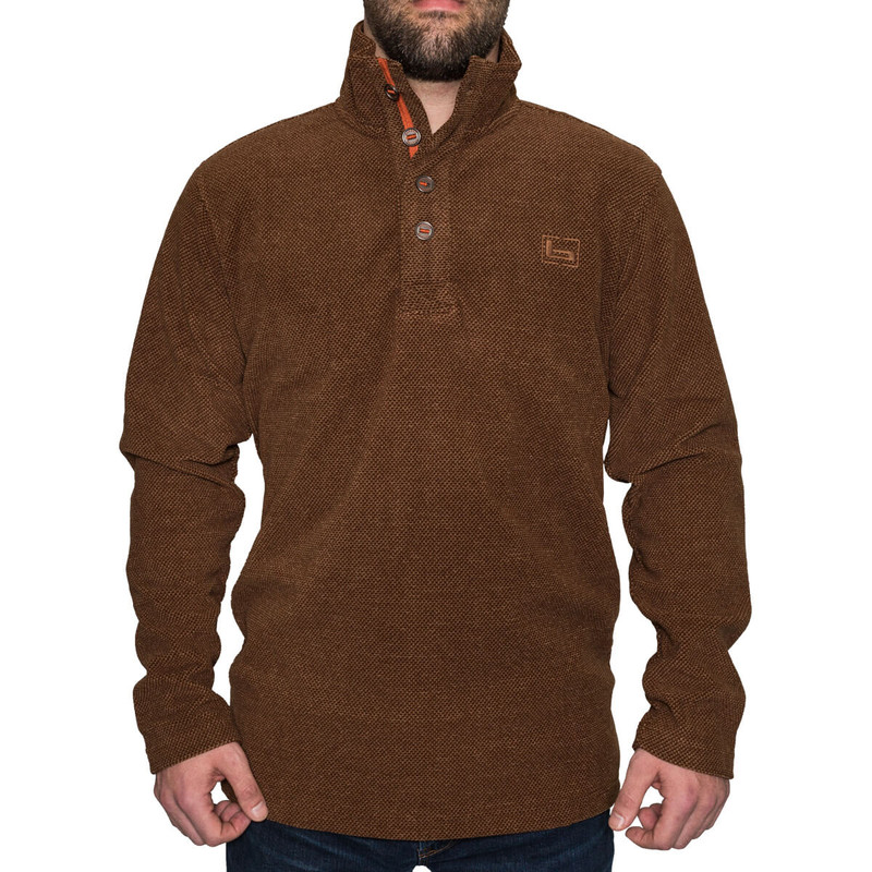 Banded Firepit Fleece Henley in Brown Color