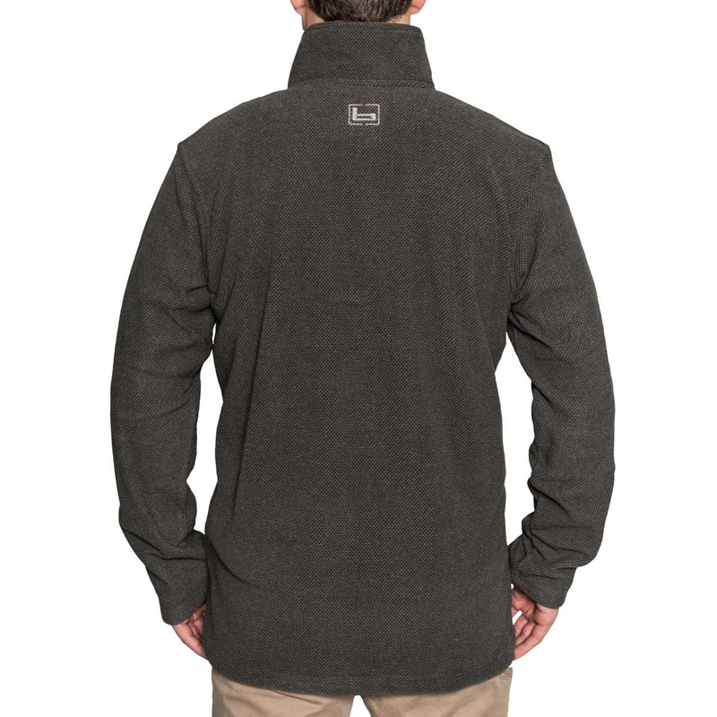 Banded Firepit Fleece Henley in Charcoal Color