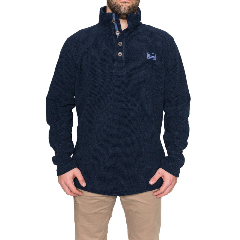 Banded Firepit Fleece Henley in Midnight Color
