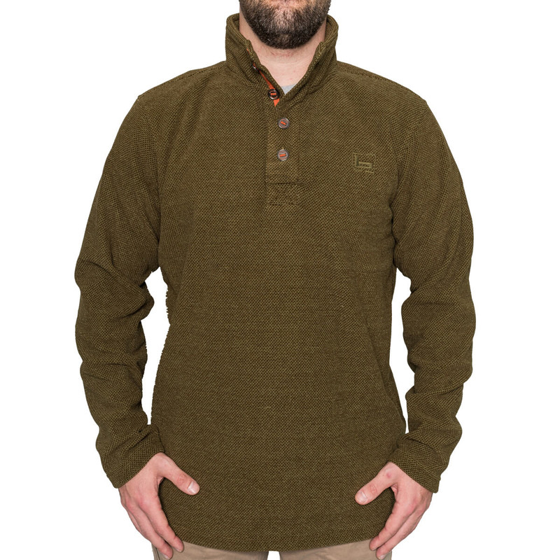 Banded Firepit Fleece Henley in Spanish Moss Color