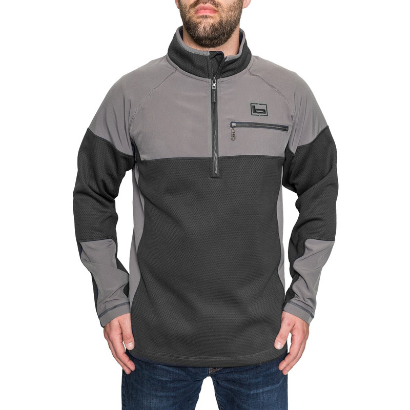 Banded Southern Pines Quarter Zip Pullover in Black Color