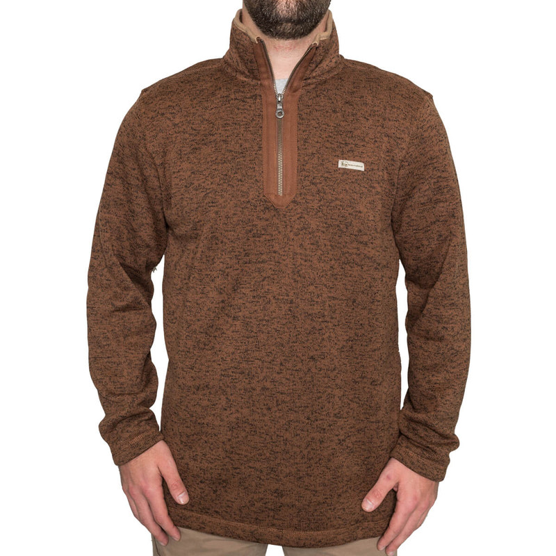 Banded Heather Fleece 1/4 Zip Pullover in Brown Color