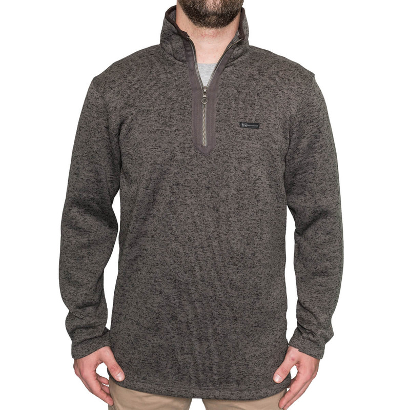 Banded Heather Fleece 1/4 Zip Pullover in Charcoal Color