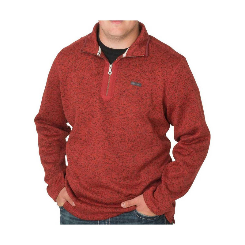 Banded Heather Fleece 1/4 Zip Pullover in Red Wood Color