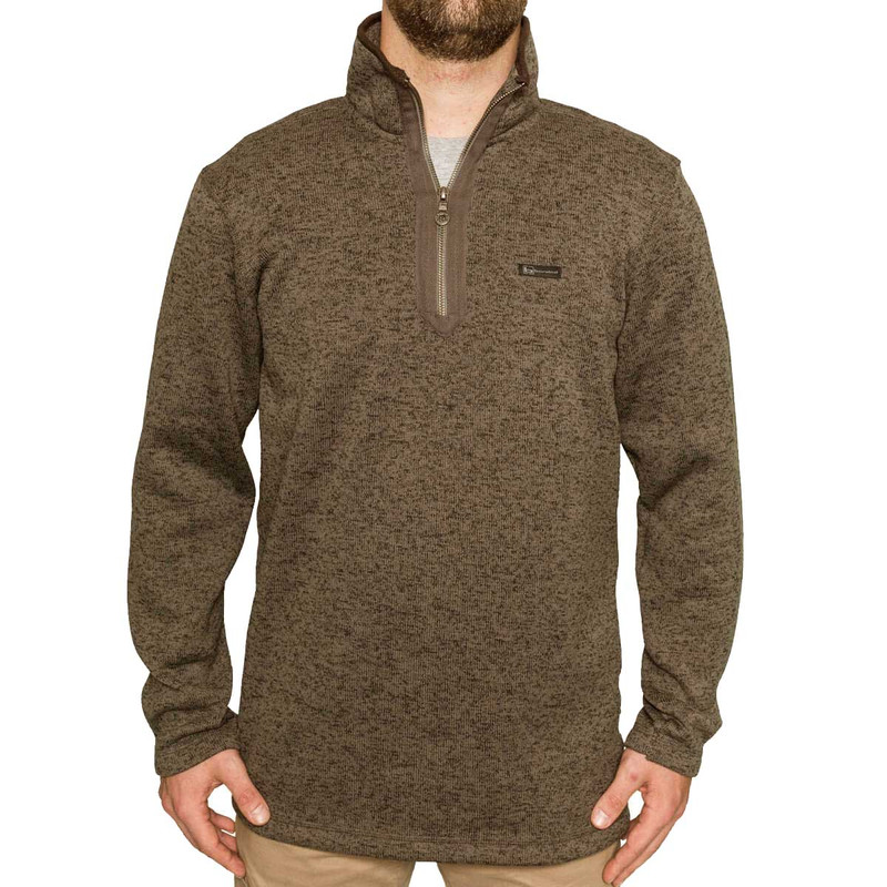 Banded Heather Fleece 1/4 Zip Pullover in Spanish Moss Color