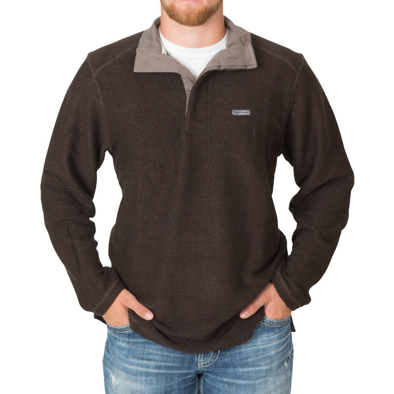 Banded Nubby Fleece Henley in Black Color