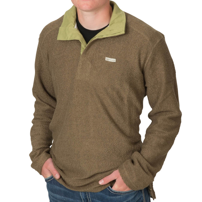 Banded Nubby Fleece Henley in Spanish Moss Color