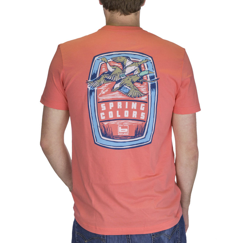 Banded Spring Colors Short Sleeve Tee in Coral Color