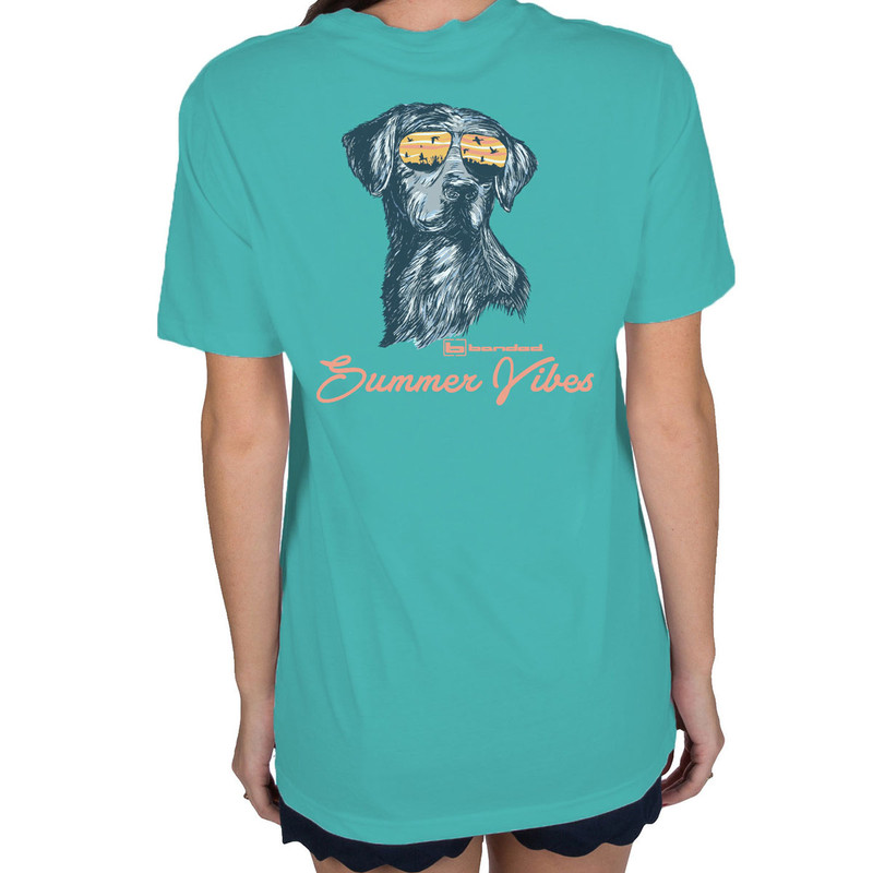 Banded Summer Vibes Short Sleeve Tee in Lagoon Color