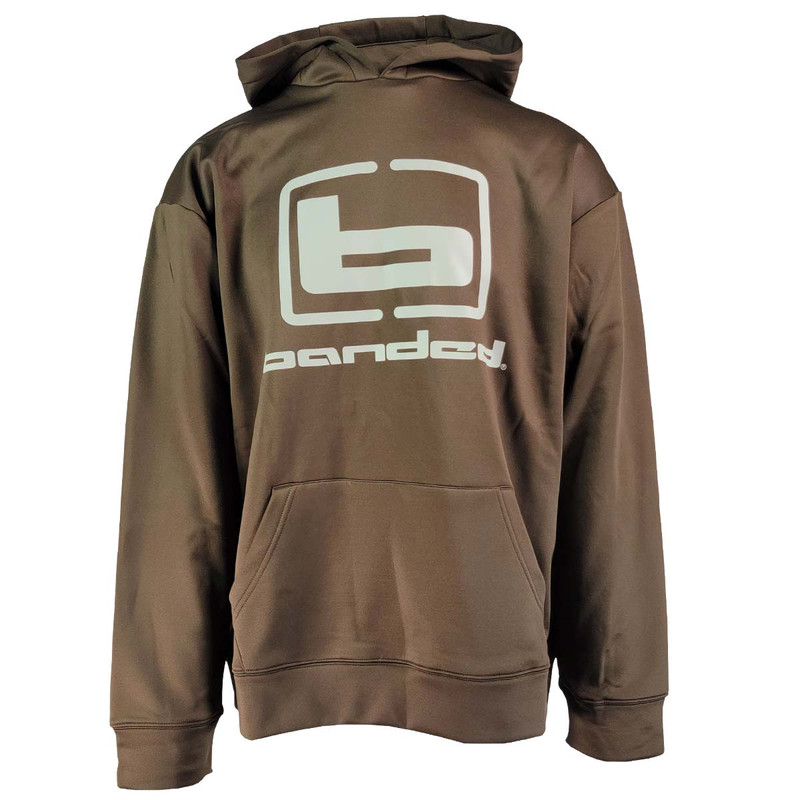 Banded Logo Hoodie in Brown Color
