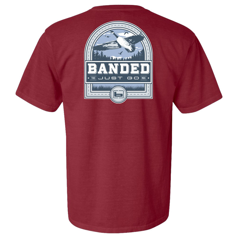 Banded Short Sleeve Goose Badge Tee in Brick Color
