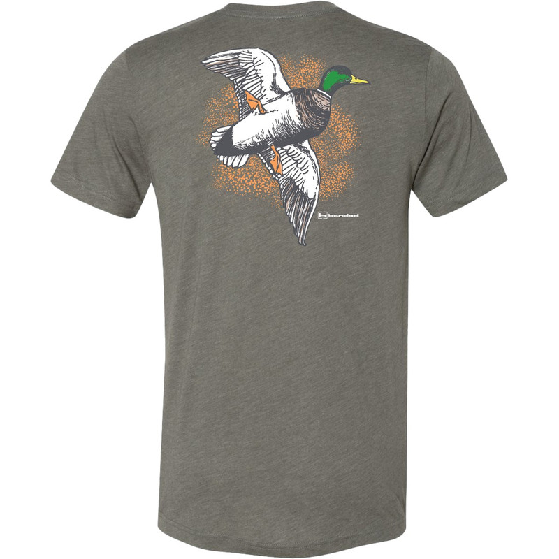 Banded Short Sleeve Ducksplatter Tee in Military Green Color