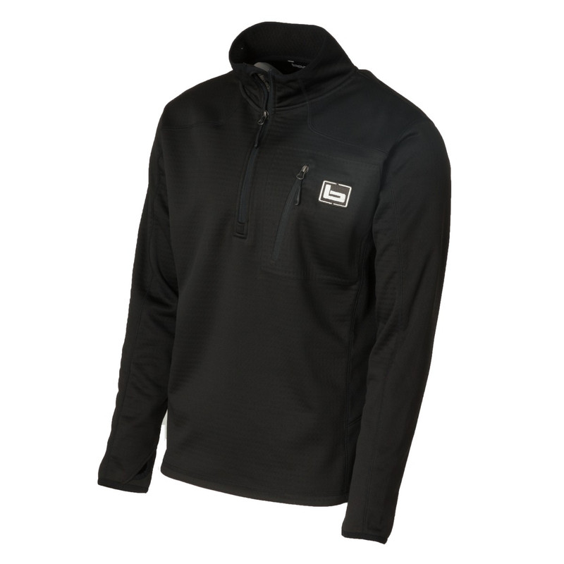 Banded Quarter Zip Mid Layer Fleece Pullover in Black Color