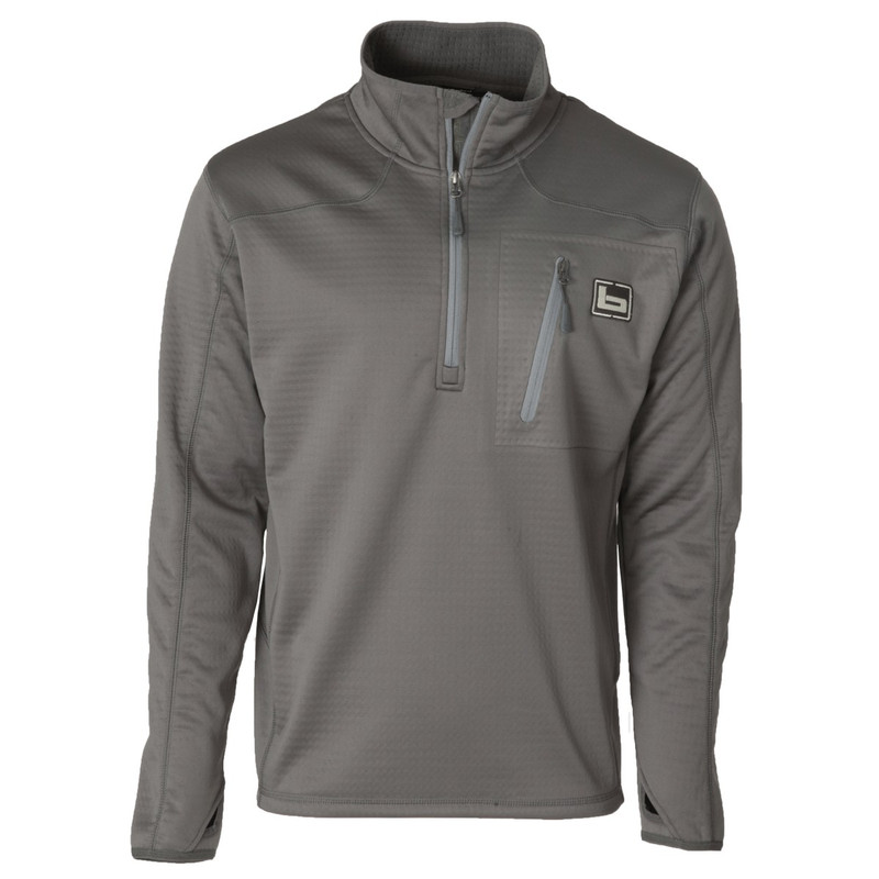 Banded Quarter Zip Mid Layer Fleece Pullover in Charcoal Color