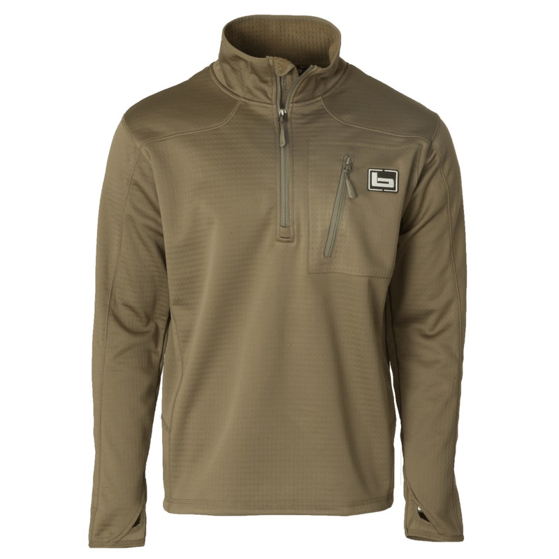 Banded Quarter Zip Mid Layer Fleece Pullover in Spanish Moss Color