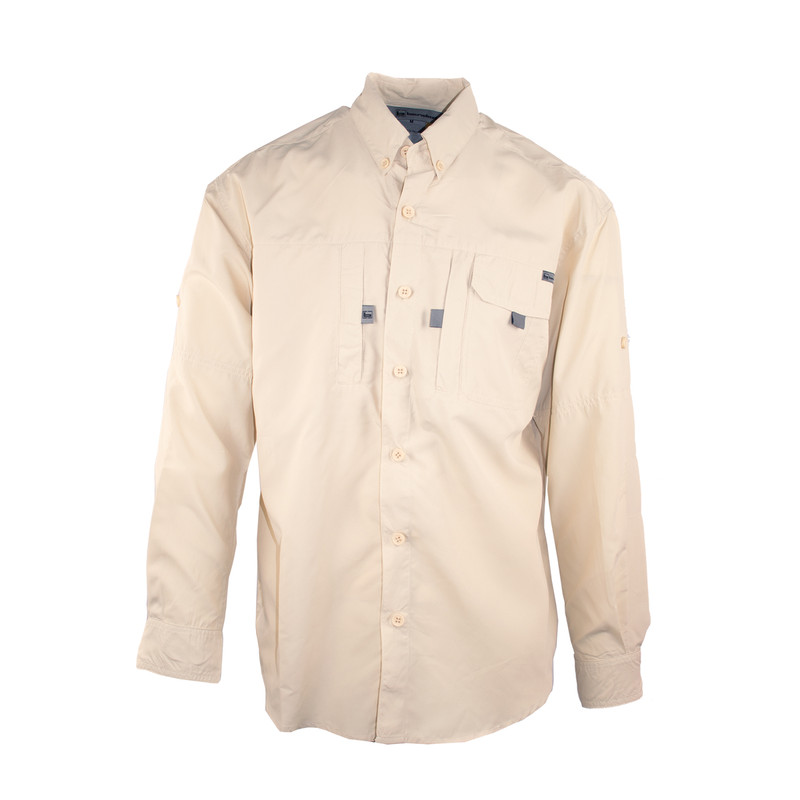 Banded Light Weight Long Sleeve Button Down Shirt in Khaki Color