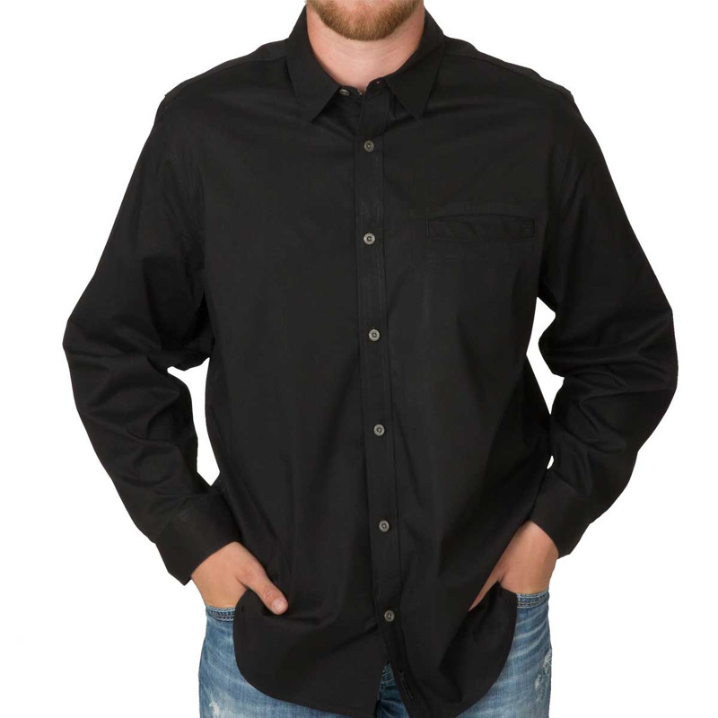 Banded Active Vented Dri-Stretch Long Sleeve Shirt in Black Color
