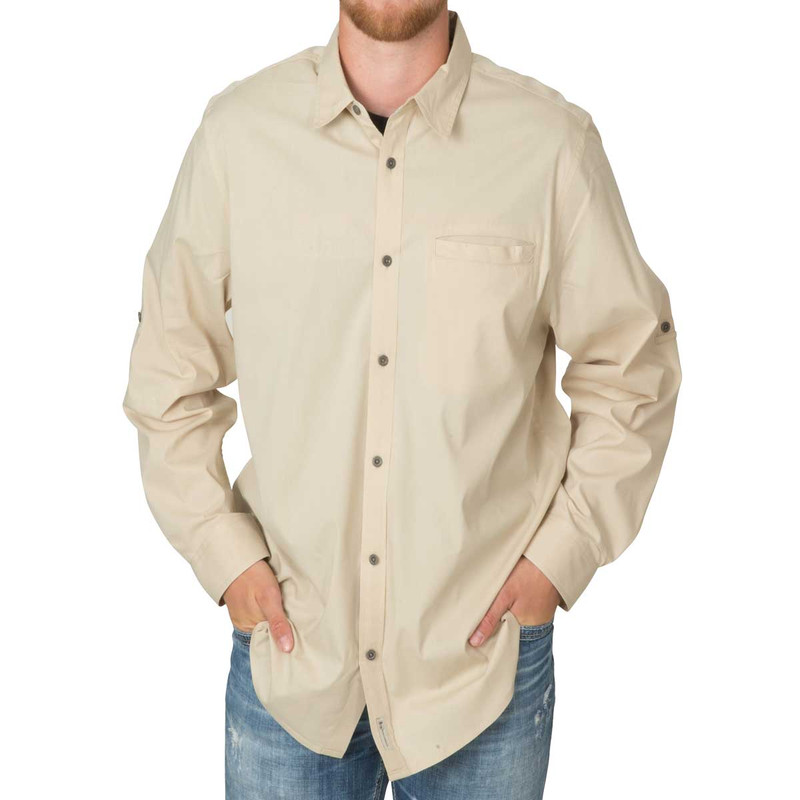 Banded Active Vented Dri-Stretch Long Sleeve Shirt in Khaki Color