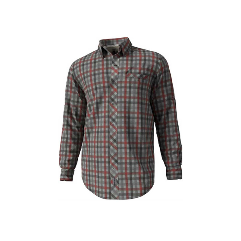 Banded Active Vented Dri-Stretch Long Sleeve Shirt in Limestone Plaid Color