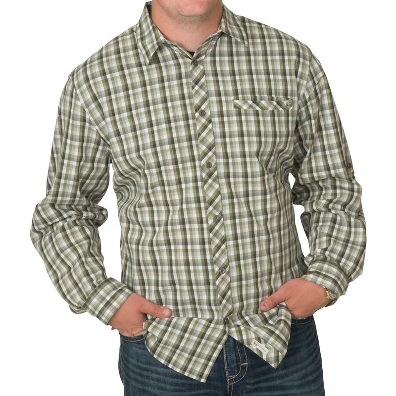 Banded Active Vented Dri-Stretch Long Sleeve Shirt in Muted Moss Plaid Color