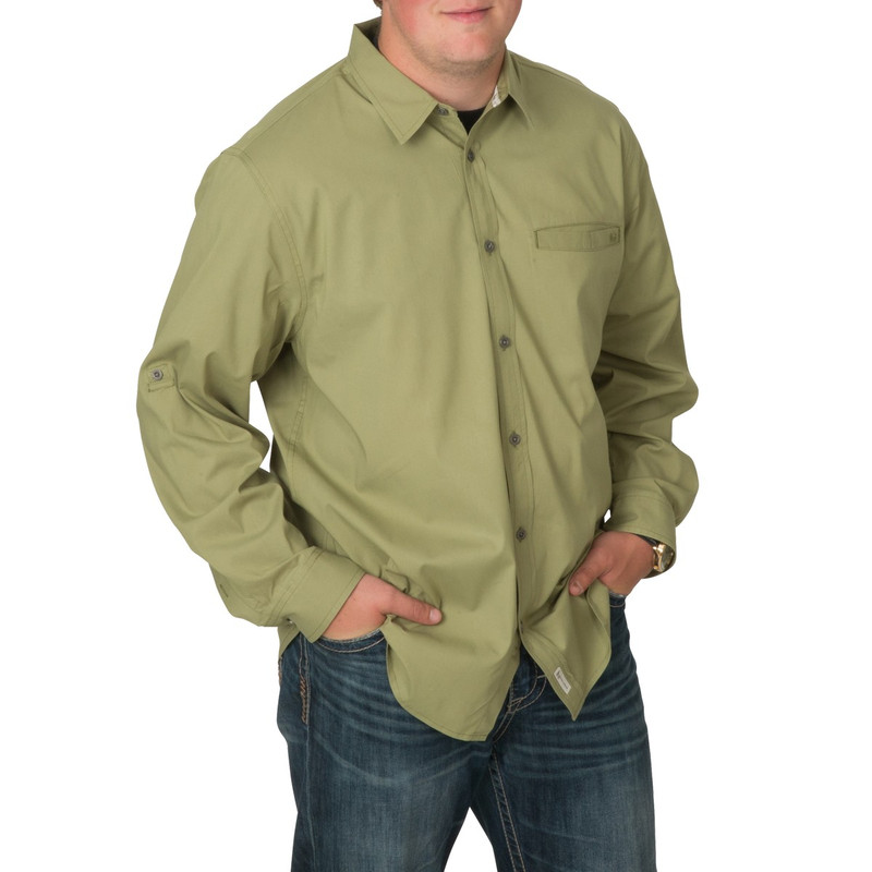 Banded Active Vented Dri-Stretch Long Sleeve Shirt in Olive Color
