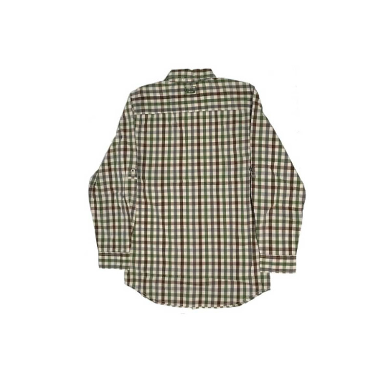 Banded Active Vented Dri-Stretch Long Sleeve Shirt in Stone Plaid Color