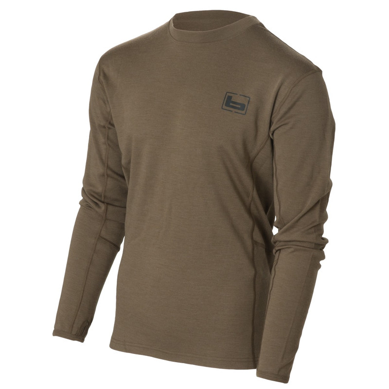 Banded Base Merino Wool Crew Long Sleeve Pullover - 230 Gram in Chocolate Color