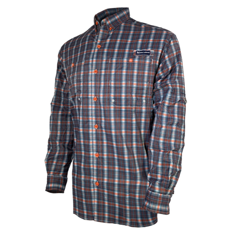 Banded Hook Performance Fishing Shirt in Blue Orange Plaid Color