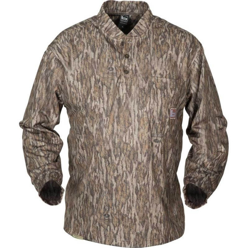Banded Tec Fleece Henley Shirt in Mossy Oak Bottomland Color