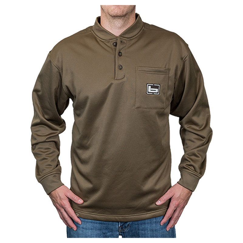 Banded Tec Fleece Henley Shirt in Spanish Moss Color