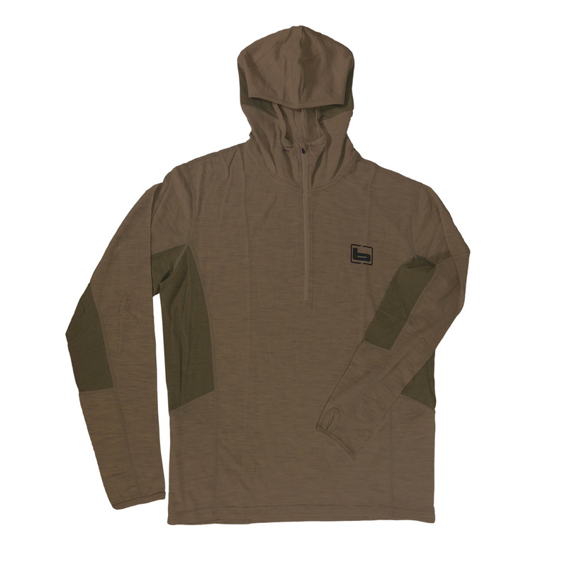 Banded Base Merino Wool 1/4 Zip Hoodie 230 Gram in Chocolate Color
