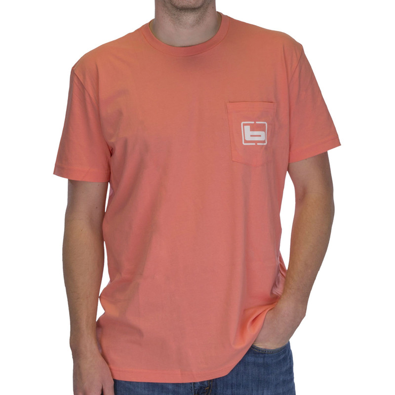 Banded Black Duck Short Sleeve T-Shirt in Salmon Color